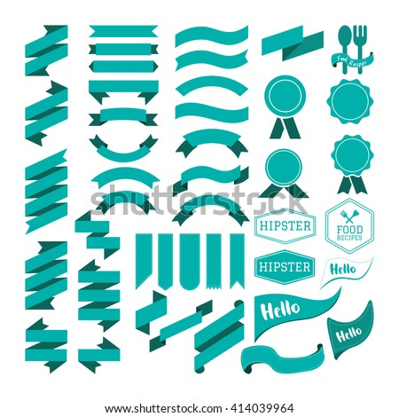 Ribbon and vintage element vector - stock vector