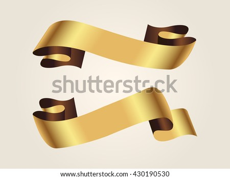 Ribbon banner.Golden ribbon.Vector illustration.