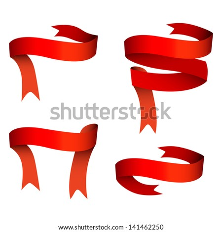 Ribbon banner red set of four - stock vector