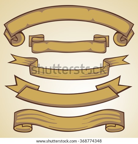 Ribbon banner vintage set.Vector illustration.