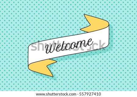 ribbon banner text welcome retro hand stock vector royalty free