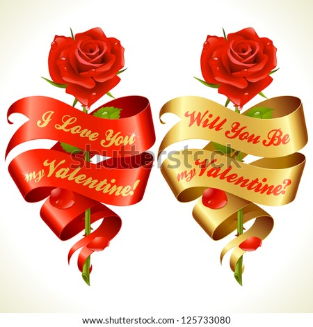 Ribbon banners in the shape of heart and red rose. Valentine's Day Card 6 - stock vector