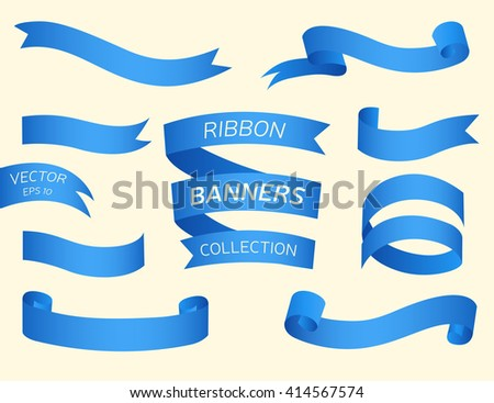 Ribbon banners. Set of blue realistic ribbons. Collection of different banners. Vector illustration, eps 10 - stock vector