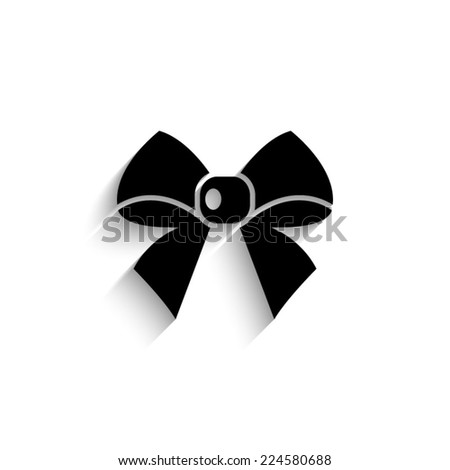 ribbon bow  - black vector icon with shadow - stock vector