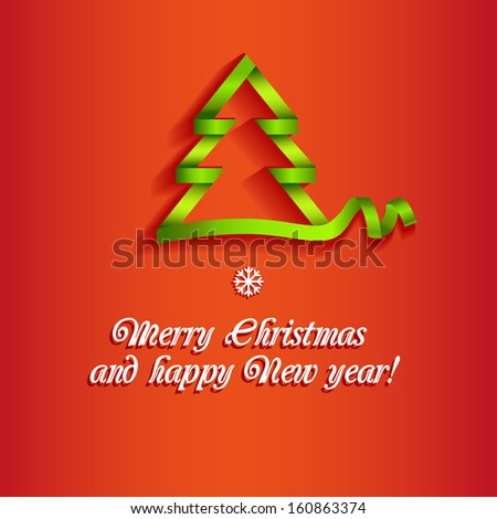 Ribbon Christmas tree - stock vector