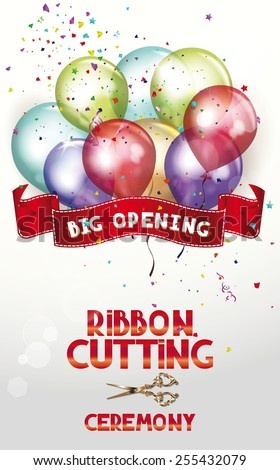 Ribbon cutting ceremony invitation card air stock photo photo ribbon cutting ceremony invitation card with air balloons and scissors stopboris Image collections