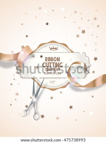 Ribbon cutting ceremony invitation card beige stock vector 475738993 ribbon cutting ceremony invitation card with beige silk ribbon scissors and star shaped confetti stopboris Image collections