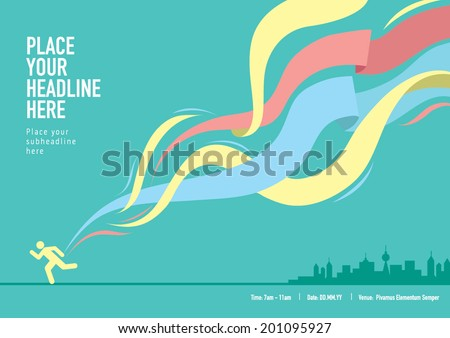 Ribbon design element with landscape/ Info graphics template design for sports event