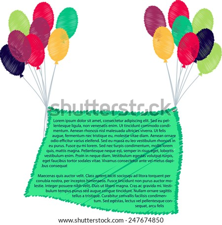 Ribbon flying balloons,balloon with banner - stock vector