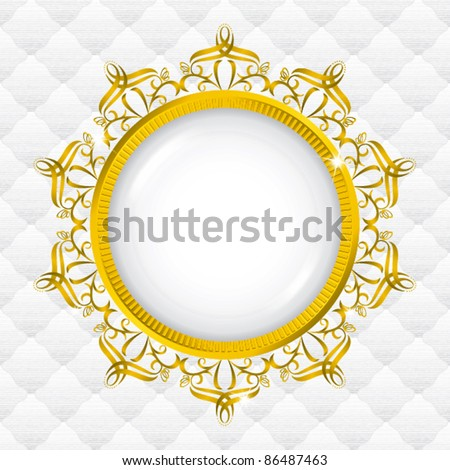 ribbon gold frame with seamless upholstery - stock vector