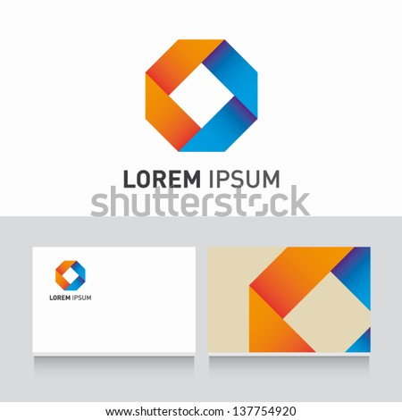 ribbon icon vector design elements with business card template editable - stock vector