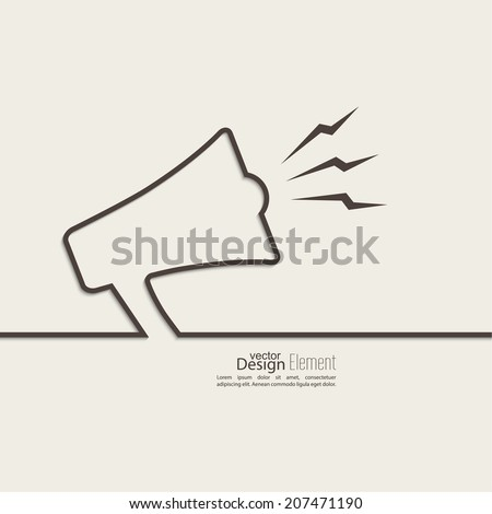 Ribbon in the form of a megaphone, loudspeaker. for social media marketing concept. Notification through the speaker, advertisement bullhorn. - stock vector