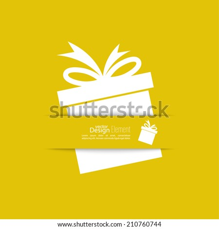 Ribbon in the form of gift  with shadow and space for text. flat design.banners, graphic or website layout  template. yellow - stock vector