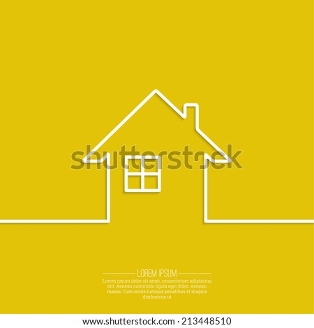 Ribbon in the form of house with shadow and space for text. flat design.   Icon of real estate. Sign for business card of realtor agency. Background for advertising, report, sales, Internet site - stock vector