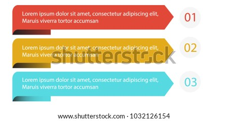Ribbon infographic 3 steps explanation content with cute design colorful banner