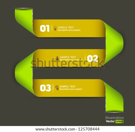 Ribbon modern template /  numbered banners / for infographics - stock vector