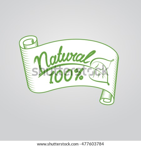 Ribbon natural 100%.  Eco friendly concept. Vector ecology nature design