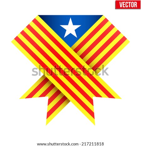 Ribbon of independence to support Catalonia. Vector Illustration Isolated on white background. - stock vector