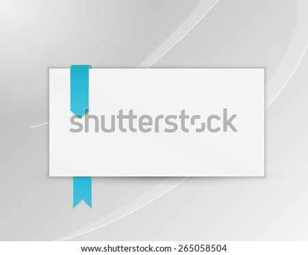 ribbon or bookmark with blank paper on gray silver background - stock vector