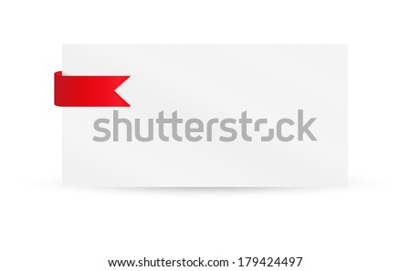 ribbon or bookmark with blank paper on white background