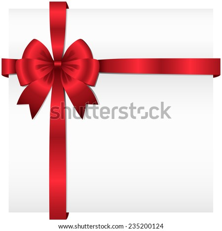Ribbon Present Background - Vector ribbon and bow wrapping around a white background.  Ribbon can be adjusted easily to fit any format.