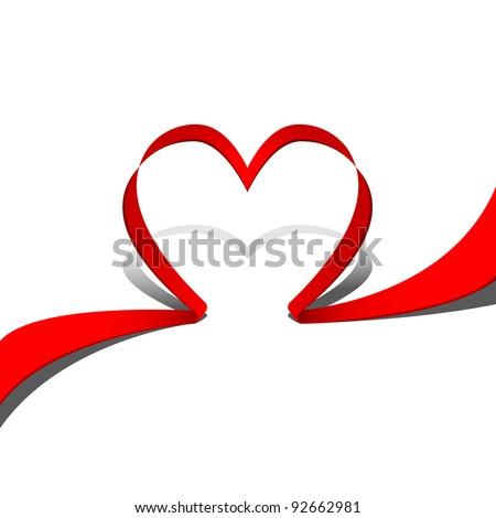 Vector heart ribbon