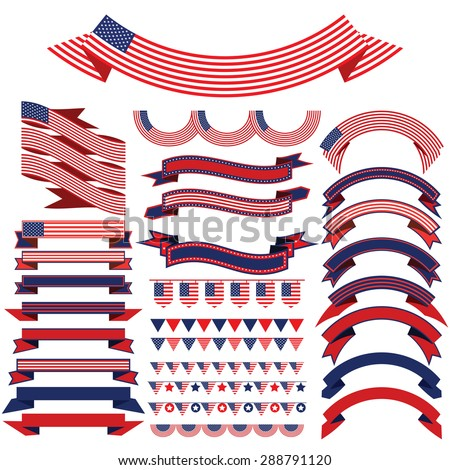 Ribbon set . Bunting pennants for Independence Day. - stock vector