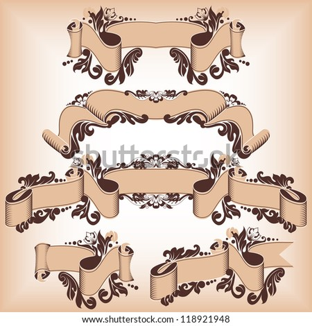 ribbon set in antique style with floral ornament.