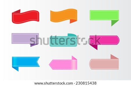 Ribbon set in color.Vector illustration. - stock vector