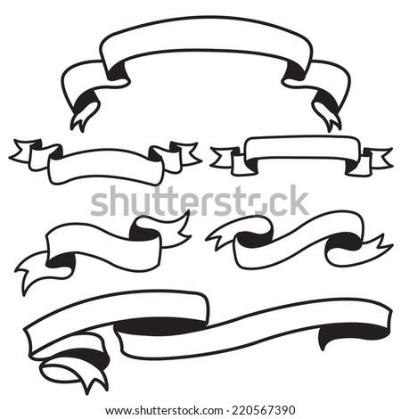 ribbon set vintage - stock vector