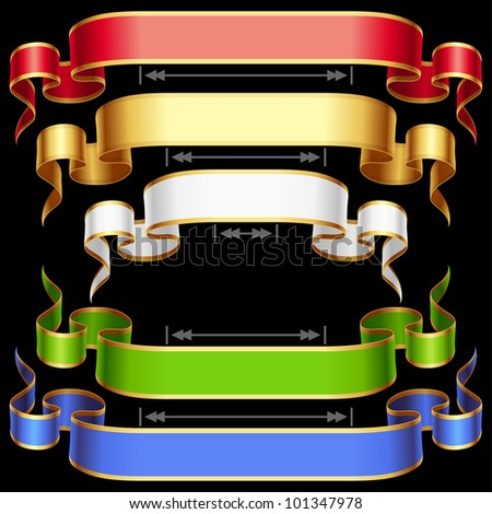 Ribbon set with adjustable length. Vector red, golden, blue, green and white frame isolated on background - stock vector