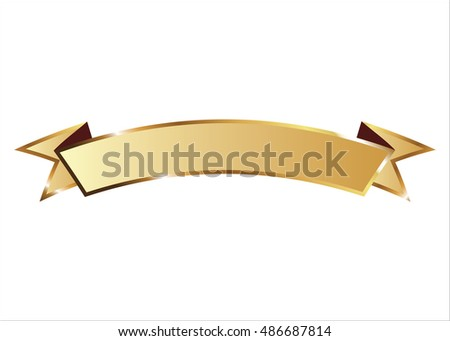 Ribbon vector icon gold color on white background. Banner isolated shapes illustration of gift and accessory. Christmas sticker and decoration for app and web. Label, badge and borders collection.