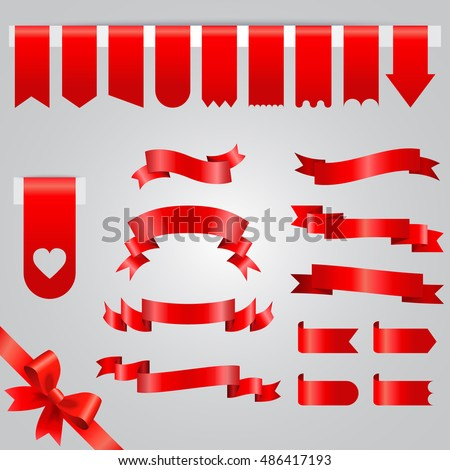 Ribbon vector icon set. Collection of red ribbons isolated on white background.