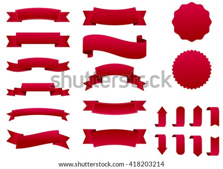 Ribbon vector icon set red color on white background. Banner isolated shapes illustration of gift and accessory. Christmas sticker and decoration for app and web. Label, badge and borders collection.