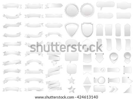Ribbon vector icon set silver color on white background. Banner isolated shapes illustration  gift and accessory. Christmas sticker and decoration for app and web. Label, badge and borders collection. - stock vector