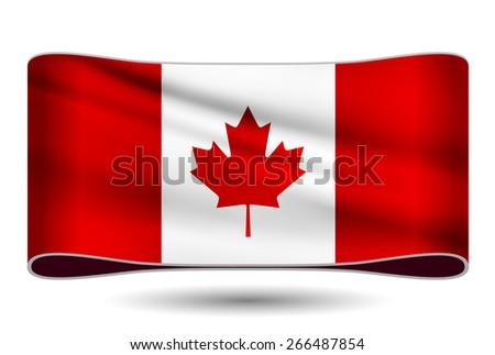 Ribbon waving flag of Canada. Vector illustration. - stock vector
