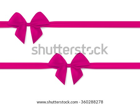 Ribbon with pink bow vector. Tape. Isolated on white