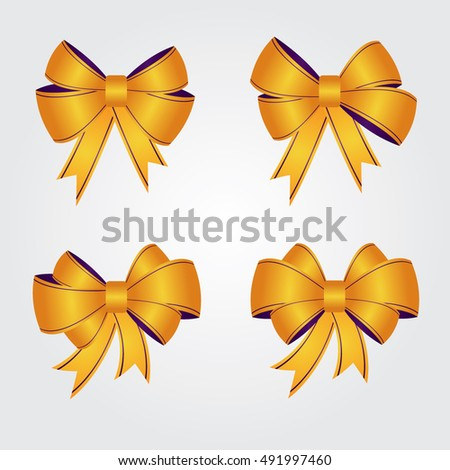 Ribbons and bows. Set of yellow vector ribbons and bows. Vector illustration. Ribbons and bows for business and design.  Design elements. Gift ribbons and bows for holiday