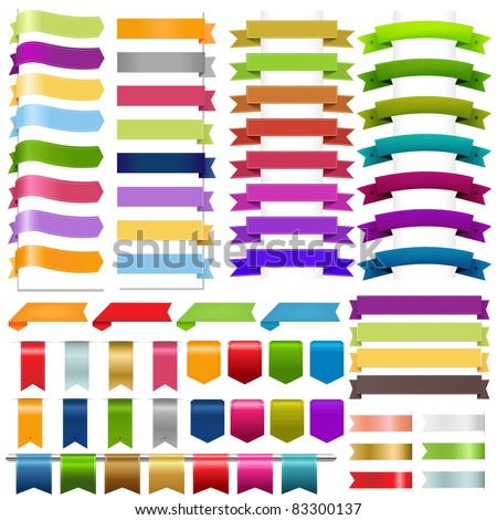 Ribbons Big Set, Isolated On White Background, Vector Illustration - stock vector