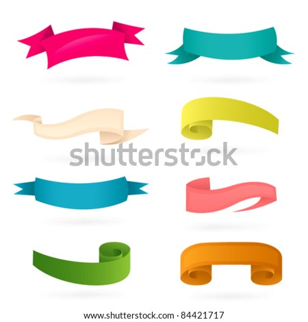 Ribbons. Colorful banners set - stock vector