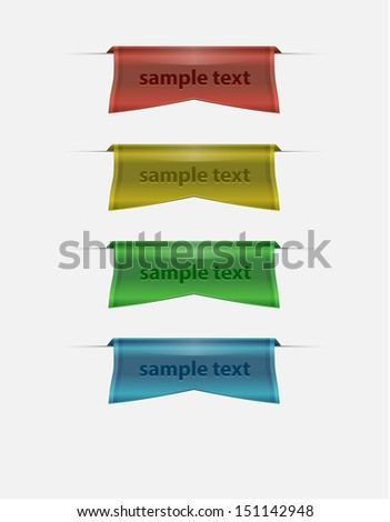 Ribbons in various colors - stock vector