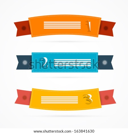 Ribbons, Labels Set in Retro Colors - stock vector