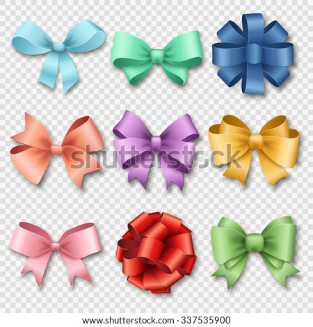 Ribbons set for Christmas gifts. Red gift bows with ribbons vector illustration. Red gift ribbons and bows for New Year celebrate. Christmas ribbons, christmas gifts. Birthday ribbons, birthday gifts - stock vector