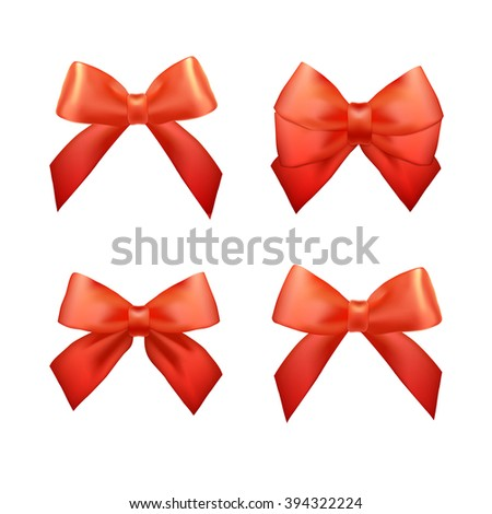 Ribbons set for Christmas gifts. Vector Red gift bows with ribbons. Red gift ribbons and bows for New Year celebrate. Christmas ribbons, christmas gifts. Birthday ribbons, birthday gift - stock vector