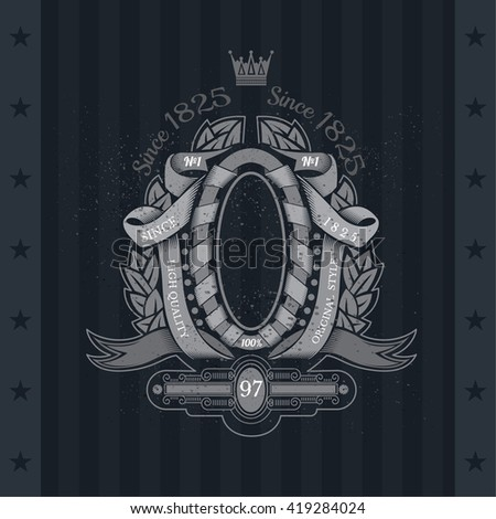 Ribbons Winding With Oval Frame In Center And Laurel Wreath. Vintage Label On Blackboard - stock vector