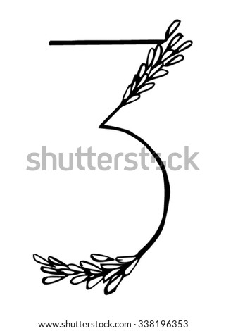 Rice font by hand drawing number 3 with isolated on white backgrounds. Vector and illustrator ESP 10.