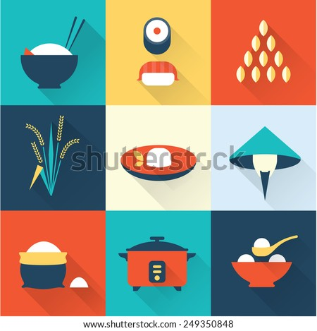 Rice icons - stock vector