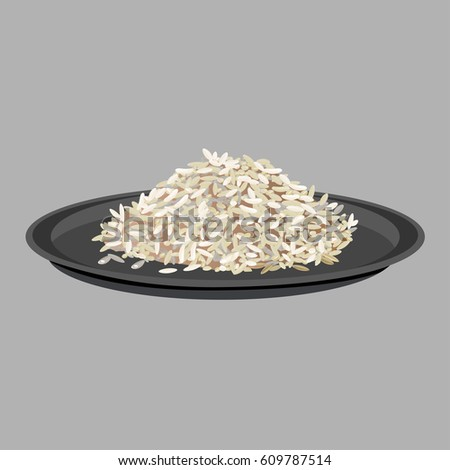 Rice on black plate. Vector illustration