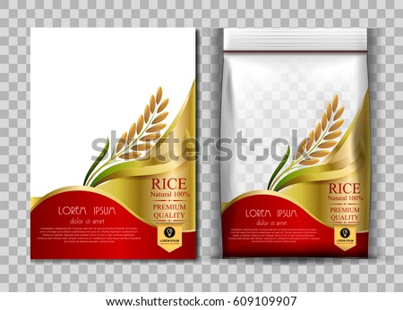 Rice Package Thailand food Logo Products and Fabric Background Thai Arts, banner and poster template design rice food.Golden template and rice design