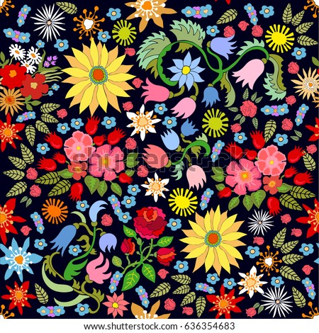 Rich floral carpet. Seamless vector pattern with sunflowers, tulips and roses. Retro textile collection.